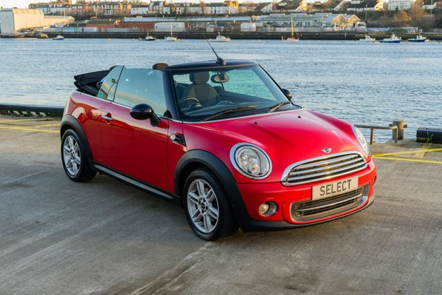 USED 2011 11 MINI CONVERTIBLE 1.6 COOPER 2d 122 BHP Chilli Red with black electric hood, black mirror covers, chrome pack and 16 inch twin spoke alloys,black and red interior trimmings, park sensors front and rear, climate control, DAB digital radio, full bluetooth connectivity, six speed gearbox