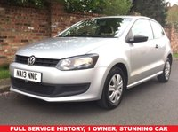 USED 2013 13 VOLKSWAGEN POLO 1.2 S 3d 60 BHP 1 OWNER, FULL SERVICE HISTORY, 1YR MOT, EXCELLENT CONDITION, DAB RADIO CD, E/WINDOWS, C/LOCKING, FREE WARRANTY, FINANCE AVAILABLE, HPI CLEAR, PART EXCHANGE WELCOME,
