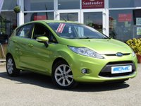 USED 2011 11 FORD FIESTA 1.4 ZETEC 16V 5d 96 BHP SQUEEZE GREEN MET, FSH, LOW MILES, JUST IN