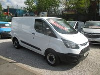 USED 2014 14 FORD TRANSIT CUSTOM 2.2 TDCI, 270 SHORT WHEEL BASE, LOW ROOF, 6 SPD, BLUETOOTH, ELEC WINDOWS,