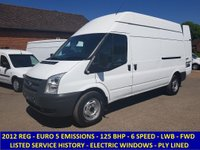 2012 FORD TRANSIT 125BHP 350 LWB HIGH ROOF EURO 5 WITH HISTORY £7295.00