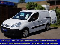 2015 CITROEN BERLINGO ENTERPRISE L1 WITH AIR-CON, 3 SEATS & FULL ELECTRIC PACK £5495.00