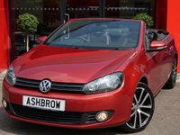 USED 2015 15 VOLKSWAGEN GOLF CABRIOLET 2.0 TDI GT BLUEMOTION TECH 2d 140 S/S 1 OWNER FROM NEW, FULL SERVICE HISTORY, £30 ROAD TAX, FRONT & REAR PARKING SENSORS WITH DISPLAY, FRONT FOG LIGHTS, 18 INCH 10 SPOKE ALLOYS, ALCANTARA LEATHER UPHOLSTERY, LED REAR LIGHTS, DAB RADIO, BLUETOOTH PHONE & MUSIC STREAMING, CRUISE CONTROL, MDI INPUT FOR IPOD / USB DEVICES, AUX INPUT, LIGHT & RAIN SENSORS WITH AUTO DIMMING REAR VIEW MIRROR,  LEATHER MULTIFUNCTION STEERING WHEEL, ILLUMINATING VANITY MIRRORS, VATQ