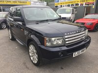 USED 2005 55 LAND ROVER RANGE ROVER SPORT 4.2 V8 S/C 5 DOOR AUTOMATIC 385 BHP IN METALLIC BLUE IN IMMACULATE CONDITION APPROVED CARS ARE PLEASED TO OFFER THIS LAND ROVER RANGE ROVER SPORT 4.2 V8 S/C 5 DOOR AUTOMATIC 385 BHP IN METALLIC MIDNIGHT BLUE WITH A FULL BLACK LEATHER INTERIOR IN STUNNING CONDITION ALL ROUND WITH ALL THE SPEC AND A FULL SERVICE HISTORY SERVICED AT 15K,29K,45K,51K,67K,90K,100K,106K AND 118K WITH 3 KEYS ONLY 2 OWNERS THIS CAR HAS BEEN LOOKED AFTER BY BOTH ITS OWNERS TO A SUPER HIGH STANDARD,ONE NOT TO BE MISSED.