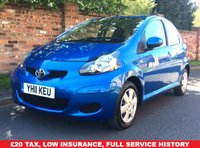 USED 2011 11 TOYOTA AYGO 1.0 VVT-I BLUE 5d 67 BHP NEW ARRIVAL, FULLSERVICE HISTORY, MOT MAR 19,  INSURANCE GROUP, £20 ROAD TAX, EXCELLENT CONDITION,  AIR CON, BLUETOOTH, RADIO CD, E/WINDOWS, R/LOCKING, FREE  WARRANTY, FINANCE AVAILABLE, HPI CLEAR, PART EXCHANGE WELCOME,
