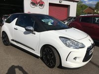 USED 2013 62 CITROEN DS3 1.6 E-HDI AIRDREAM DSPORT PLUS 3d 111 BHP DS3 DIESEL £ZERO ROAD TAX, BLACK ON WHITE, FULL BLACK LEATHER TRIM