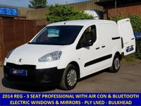 2014 PEUGEOT PARTNER PROFESSIONAL WITH 3 SEATS, AIR-CON & BLUETOOTH STEREO £6295.00