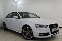 USED 2014 14 AUDI A4 2.0 TDI S LINE BLACK EDITION 4DR 174 BHP SERVICE HISTORY + HALF LEATHER SEATS + BLUETOOTH + PARKING SENSOR + CRUISE CONTROL + MULTI FUNCTION WHEEL + AIR CONDITIONING + 19 INCH ALLOY WHEELS