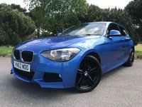 USED 2012 62 BMW 1 SERIES 2.0 118D M SPORT 3d 141 BHP STUNNING COLOUR SCHEME M SPORT ESTORIL BLUE MET WITH BLACK ALLOYS AND SPORTS SEATS