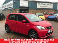 USED 2015 15 SEAT MII 1.0 I-TECH 5 Door 59 BHP SAT NAV £20 RFL RED with Black Cloth Ideal 1st time car Group 1 Insurance £20 road tax ONLY 3278 miles SAT NAV Bluetooth
