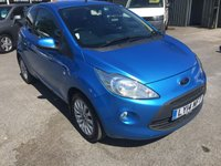 USED 2014 14 FORD KA 1.2 ZETEC 3d 69 BHP IN MET BLUE WITH REAR SPOILER,ALLOYS,A/C,AND ONLY 22000 MILES. APPROVED CARS ARE PLEASED TO OFFER THIS FORD KA 1.2 ZETEC 3d 69 BHP IN METALLIC BLUE IN IMMACULATE CONDITION INSIDE AND OUT WITH A GREAT SPEC INCLUDING REAR SPOILER,A/C,ELECTRIC WINDOWS,CD,HEATED FRONT AND REAR SCREENS,RADIO/CD UPGRADE,UPGRADED EXHAUST SYSTEM AND MUCH MORE ALONG WITH A FULL SERVICE HISTORY SERVICED AT 7K,14K AND 19K A TRULY GENUINE CAR IN PERFECT CONDITION AND LOOKS GREAT.