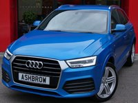 USED 2015 15 AUDI Q3 2.0 TDI QUATTRO S LINE PLUS 5d 185 S/S SAT NAV, BLACK LEATHER ALCANTARA INTERIOR, PARKING SYSTEM FRONT & REAR WITH DISPLAY, CRUISE CONTROL, ELECTRIC HEATED POWER FOLDING DOOR MIRRORS, DAB RADIO, BLUETOOTH PHONE & MUSIC STREAMING, ELECTRIC TAILGATE, AUDI DRIVE SELECT, 19 INCH 5 SEGMENT SPOKE ALLOYS, LED XENON LIGHTS, PRIVACY GLASS, SPORT SEATS WITH ELECTRIC LUMBAR SUPPORT, AUTO LIGHTS & WIPERS, AUTO DIMMING REAR VIEW MIRROR, AUDI MUSIC INTERFACE, 1 OWNER FROM NEW, FULL AUDI SERVICE HISTORY