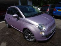 USED 2013 62 FIAT 500 1.2 LOUNGE 3d 69 BHP Finished in rare Amethyst Pink. One Previous Owner, Just Serviced, Minimum 8 months MOT, Great on fuel economy! Only £30 Road Tax!