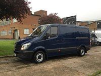 USED 2015 15 MERCEDES-BENZ SPRINTER 2.1 313CDI MWB LOW ROOF 130BHP. 1 OWNER. BLUE. FSH 0% DEPOSIT FINANCE. PX WELCOME