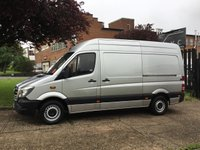 USED 2014 14 MERCEDES-BENZ SPRINTER 2.1 313CDI MWB HIGH ROOF 130BHP. SILVER. SENSORS. 1 OWNER SILVER. 6 SERVICE STAMPS. PX WELCOME