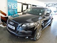 "USED 2009 09 AUDI Q7 3.0 TDI QUATTRO S LINE 5d AUTO 240 BHP This 7 seater Q7 is finished in Phantom Black with Black leather electric and heated S Line embossed seats. It is fitted with power steering, remote locking, electric windows, mirrors with power fold and front seats, dual zone climate control, cruise control, rear parking sensors, side running boards, Sat Nav, Audi MMI Bluetooth, 7 seats, tinted rear glass, BOSE Upgrade,  paddle shift gearbox, day lights, S-Line steering wheel, 21"" 7 double spokes alloy wheels, CD Stereo and more."
