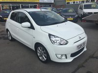 USED 2014 64 MITSUBISHI MIRAGE 1.2 3 5 DOOR 79 BHP IN WHITE WITH ONLY 25000 MILES APPROVED CARS ARE PLEASED TO OFFER THIS  MITSUBISHI MIRAGE 1.2 3 5 DOOR 79 BHP IN WHITE WITH ONLY 25000 MILES AND A FULL SERVICE HISTORY  HAVING HAD A MITSUBISHI SERVICE PLAN FROM NEW THE CARS GOT A GOOD SPEC INCLUDING FRONT AND REAR PARKING SENSORS,KEYLESS ENTRY AND MUCH MORE AND IS SUPER ECONOMICAL AND A VERY LOW INSURANCE BRACKET.