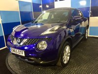 "USED 2016 65 NISSAN JUKE 1.6 N-CONNECTA XTRONIC 5d AUTO 117 BHP A stunning example of this much admired family crossover finished in a gorgeous metalic blue paintwork contrasted with unmarked 17"" silver alloy wheels.This car comes with satelite navigation ,bluertooth phone preparation ,dual zone climate control, cruise control/speed limiter ,reversing camera ,usb aux imputs plus all the usual refinements. This is definitely one not to be missed ."