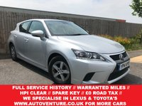 USED 2014 14 LEXUS CT 1.8 200H S 5d AUTO 134 BHP STUNNING EXAMPLE WITH WARRANTED MILEAGE + HPI CLEAR + 1 OWNER + FULL SERVICE HISTORY + LOVELY EXAMPLE  + SPARE KEY