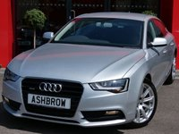 USED 2014 14 AUDI A5 SPORTBACK 2.0 TDI QUATTRO SE TECHNIK 5d S TRONIC 177 S/S QUATTRO 4 WHEEL DRIVE, UPGRADE HEATED FRONT SEATS, HDD SAT NAV WITH DVD PLAYBACK & JUKEBOX, FULL BLACK LEATHER INTERIOR, DAB RADIO, BLUETOOTH PHONE & MUSIC STREAMING, VOICE CONTROL, AUDI MUSIC INTERFACE (AMI), WIRELESS LAN CONNECTION (WLAN), CRUISE CONTROL, FRONT & REAR PARKING SENSORS WITH DISPLAY, 18 INCH 10 SPOKE ALLOYS, LEATHER MULTIFUNCTION TIPTRONIC STEERING WHEEL, LIGHT & RAIN SENSORS, 1 OWNER FROM NEW, FULL AUDI SERVICE HISTORY