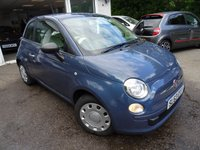 USED 2014 63 FIAT 500 1.2 POP 3d 69 BHP Finished in rare Midnight Indigo Blue with Optional Blue & Me - Bluetooth/Telephone Hands-Free Kit with USB Connection + Auxiliary Input. Full Service History (Fiat + ourselves), Minimum 8 months MOT, One Previous Owner, Great on fuel economy! Only £30 Road Tax! Low Insurance Group!