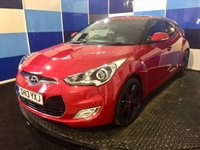 """USED 2013 13 HYUNDAI VELOSTER 1.6 GDI SPORT 4d 138 BHP A truely wonderful example of this very highly sought after sporty hatchback finished in a very luxurious red coach work contrasted with two tone 18"""" alloy wheels,this car comes equiped with full leather interior  heated front seats,bluetooth phone prep .media interface ,electric sunroof/panoramic roof,power fold mirrors.keyless entry/start, auto lights and rear parking sensors plus lots more. This car is presented in wonderfull condition and needs to be driven and viewed to be fully appreciated"""