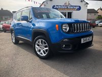 USED 2015 15 JEEP RENEGADE 1.6 M-JET LONGITUDE 5d 118 BHP Sierra Blue, Sat Nav, Bluetooth, Dab Radio, Cruise!