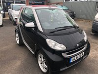 2012 SMART FORTWO CABRIO 1.0 PASSION 2d AUTO 84 BHP IN A BLACK WITH BRABUS WHEELS AND EXHAUST AND ONLY 21000 MILES £4999.00
