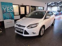 USED 2013 62 FORD FOCUS 1.6 TITANIUM TDCI 115 5d 114 BHP This £30 per year to tax Focus Titanium is finished in white with Black cloth seats. It is fitted with power steering, remote locking, electric windows x 4, mirrors with power fold,  dual zone climate control, cruise control,  park assist,  heated front & rear screen, Sat Nav, Bluetooth , alloy wheels, Sony Stereo with USB and more. It has had two private owners from new, It comes with an excellent service history consisting of stamps. The advisory free Mot runs till January 2019.