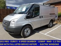 2013 FORD TRANSIT 125 330 SWB LOW ROOF RWD WITH FULL SERVICE HISTORY £7295.00