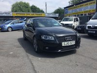 USED 2010 10 AUDI A3 2.0 SPORTBACK TDI S LINE SPECIAL EDITION 5 DOOR 168 BHP IN BLACK WITH GREY ALLOYS IN STUNNING CONDITION. APPROVED CARS ARE PLEASED TO OFFER THIS AUDI A3 2.0 SPORTBACK TDI S LINE SPECIAL EDITION 5 DOOR 168 BHP IN BLACK WITH GREY ALLOYS AND A GREAT SPEC INCLUDING ALLOYS,SAT NAV,BLUETOOTH PHONE CONNECTION,FULL BLACK LEATHER,HEATED SEATS AND MUCH MUCH MORE WITH A FULL SERVICE HISTORY AND ONLY ONE OWNER FROM NEW A TRULY STUNNING A3