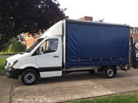 USED 2014 14 MERCEDES-BENZ SPRINTER 2.1 313CDI LWB CURTAINSIDER 130BHP. TAIL-LIFT. 13FT 6''. RARE TAIL-LIFT. 17 SERVICE STAMPS. FINANCE. PX