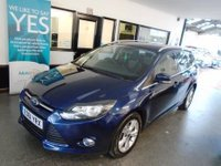 USED 2011 61 FORD FOCUS 1.6 ZETEC TDCI 5d 113 BHP Two owners, full service history, April 2019 advisory free Mot. Finished in Metallic Ink Blue with Black cloth seats.