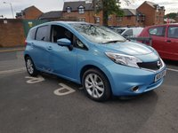 USED 2015 15 NISSAN NOTE 1.2 TEKNA DIG-S 5d AUTO 98 BHP TOP OF RANGE NOTE AUTOMATIC WITH SATELLITE NAVIGATION , LEATHER TRIM, CLIMATE CONTROL, HALF LEATHER, ALLOY WHEELS, MEDIA, CRUISE CONTROL, BLUETOOTH AND PRIVACY GLASS!  LOW CO2 EMISSIONS WITH ONLY £30 ROAD TAX AND FULL NISSAN SERVICE HISTORY! ONLY 8152 MILES!