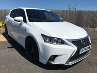 USED 2014 14 LEXUS CT 1.8 200H F SPORT 5d AUTO 134 BHP 1 OWNER FROM NEW WITH FULL LEXUS SERVICE HISTORY + SATELLITE NAVIGATION + BLACK LEATHER TRIM + HEATED FRONT SEATS + CRUISE CONTROL