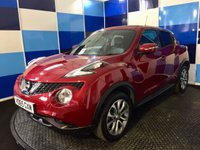 "USED 2015 65 NISSAN JUKE 1.5 TEKNA DCI 5d 110 BHP A pristine example of this highly regarded family diesel crossover finished in unmarked metalic red contrasted with two tone 17"" alloys .This car comes with very high spec including full leather interior with heated front seats,satelite navigation,cruise control / speed limiter, dab radio,usb,aux,dual zone climate control,keyless entry/start .reversing camera plus alround view monitor,plus all the usual refinements.Road fund £20 a year plus combined ecconomy of 70.6 mpg deffinitely one to view."