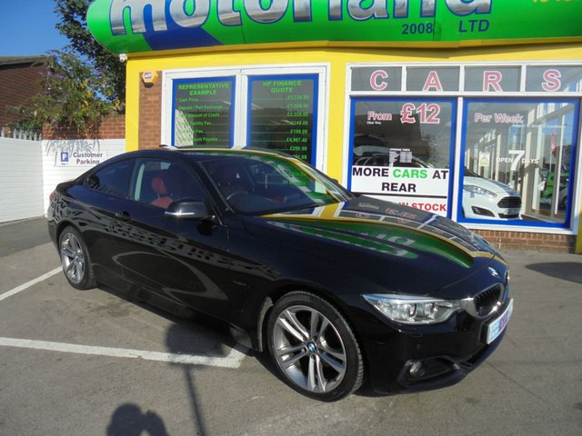 USED 2014 63 BMW 4 SERIES 2.0 420D SPORT 2d 181 BHP FULL RED LEATHER....FRONT AND REAR PARKING SENSORS....KEYLESS GO....AMAZING SPECIFICATION