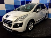 USED 2013 63 PEUGEOT 3008 2.0 HYBRID4 SR 5d AUTO 200 BHP A truely wonderfull example of this highly sought after automatic diesel hybrid finished in a unmarked metalic white probably the best colour suited to the car.This car comes with phenominal spec including heads up display ,dual zone climate control,paddle shift gearchange,onboard computer ,cruise control and speed limiter, dvd ,radio .media interface ,bluetooth phone preparation,satelite navigation plus lots more.Zero road tax and a combined ecconomy of 74.3 mpg deffinitely one to be concidered
