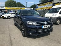 USED 2014 14 VOLKSWAGEN TOUAREG 3.0 V6 R-LINE TDI BLUEMOTION TECHNOLOGY 5 DOOR AUTO 202 BHP IN METALLIC BLUE WITH 70000 MILES APPROVED CARS ARE PLEASED TO OFFER THIS  VOLKSWAGEN TOUAREG 3.0 V6 R-LINE TDI BLUEMOTION TECHNOLOGY 5 DOOR AUTOMATIC IN STUNNING METALLIC BLUE,the cars in immaculate condition with a great spec including (Full) Leather interior, 6 Speed Gearbox, Air conditioning, Climate control, Heated seats, Parking Sensors (front), Rain sensing wipers, Sat Nav, Parking Sensors (rear), Electric Sunroof, Cruise control, Alarm, ABS, Alloy wheels, DVD player, CD player, Electric windows, Metallic paint, Power ste