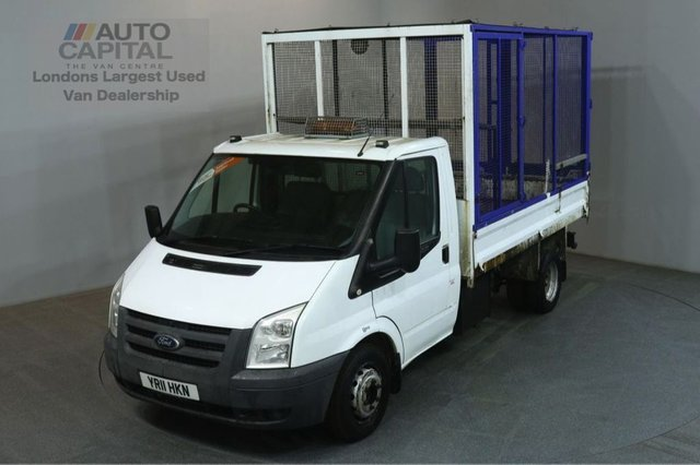2011 11 FORD TRANSIT 2.4 350 LIMITED S/CAB 100 BHP LWB TWIN WHEEL CAGE TIPPER ONE OWNER FULL S/H