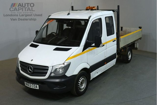 2013 63 MERCEDES-BENZ SPRINTER 2.1 313 CDI D/C MWB 129 BHP 6 SEATER RWD TIPPER ONE OWNER FROM NEW FULL S/H