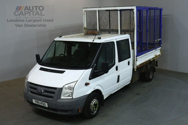 2011 11 FORD TRANSIT 2.4 350 100 BHP LWB  D/CAB TWIN WHEEL CAGE COMBI TIPPER