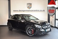 USED 2015 65 MERCEDES-BENZ GLA-CLASS 2.0 GLA45 AMG 4MATIC 5DR AUTO 360 BHP 1 owner BLACK WITH FULL BLACK LEATHER INTERIOR + FULL MERC SERVICE HISTORY + AERO KIT + SATELLITE NAVIGATION + FULL PANORAMIC ROOF + XENON LIGHTS + HEATED RECARO SPORT SEATS + REVERSE CAMERA + HARMAN/KARDON SPEAKERS + DAB RADIO + CRUISE CONTROL + RAIN SENSORS + ACTIVE PARK ASSIST + 20 INCH ALLOY WHEELS