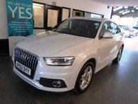 USED 2013 62 AUDI Q3 2.0 TDI QUATTRO S LINE 5d 138 BHP Two owners, comprehensive service history, February 2019 advisory free Mot. Finished in Metallic Glacier White with Full Black Nappa Leather.