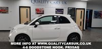 USED 2015 15 FIAT 500 1.2 S 3d 69 BHP WHITE WITH CONTRASTING BLACK AND RED TRIMMED INTERIOR