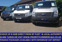 2010 FORD TRANSIT CHOICE OF 8 SWB TRANSIT FROM BT & LOCAL AUTHORITY £4995.00