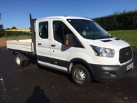USED 2015 65 FORD TRANSIT 2.2 350 L3 DOUBLECAB PICKUP 125BHP HEAVY DUTY TOWBAR, SAFETY RAILS, 3 WAY DROPSIDE