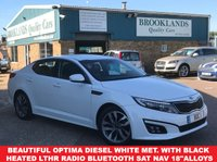 "USED 2014 64 KIA OPTIMA 1.7 CRDI 2 ECODYNAMICS 4 Door White Met, Black Leather 134 BHP Beautiful Optima Diesel White Met. with Black Heated Leather Radio with Bluetooth SAT NAV 18""Alloys"