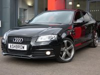 USED 2012 61 AUDI A3 SPORTBACK 2.0 TDI S LINE BLACK EDITION 5d 140 S/S £30 TAX, BI XENONS W/ LED DRL + HEADLAMP WASHERS, BOSE SOUND SYSTEM, BLACK 1/2 LEATHER, BLUETOOTH, AUX, LEATHER FLAT BOTTOM MULTI FUNCTION STEERING WHEEL, LEATHER FRONT ARM REST, PRIVACY GLASS, FRONT FOGS, DUAL ZONE CLIMATE A/C, PIANO BLACK INTERIOR TRIM, BLACK OPTIC GRILLE + WINDOW SURROUNDS, DIS W/ DIGITAL SPEED DISPLAY, SPEECH DIALOGUE SYSTEM, 18 IN ROTOR ALLOYS, SERVICE HISTORY, VAT Q