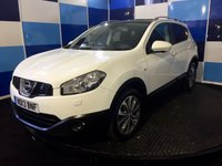 """USED 2013 13 NISSAN QASHQAI 1.6 TEKNA IS DCIS/S 5d 130 BHP A wonderful example of this highly desirable family diesel crossover finished in unmarked white paintwork further enhanced with 18"""" diamond cut alloys.This car comes with very high spec including keyless entry/start.full grey leather interior with heated front seats,bose sound system ,panoramic glass roof.satelite navigation,radio with media usb and aux imputs,bluetooth phone preparation plus so much more ,road tax of only £30 a year in conjunction with a combined ecconomy of 62.8 mpg  ."""